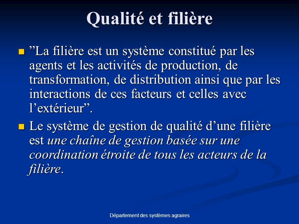 Département des systèmes agraires Qualité et filière La filière est un système constitué par les agents et les activités de production, de transformat
