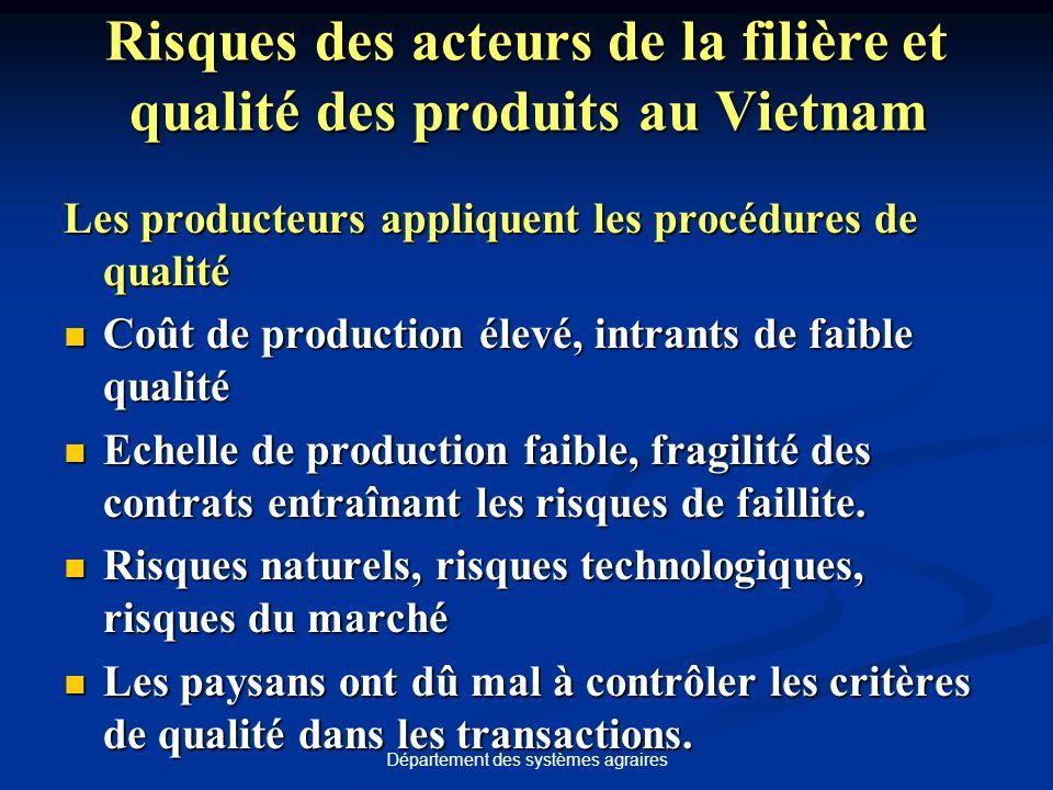 Département des systèmes agraires Risques des acteurs de la filière et qualité des produits au Vietnam Les producteurs appliquent les procédures de qu