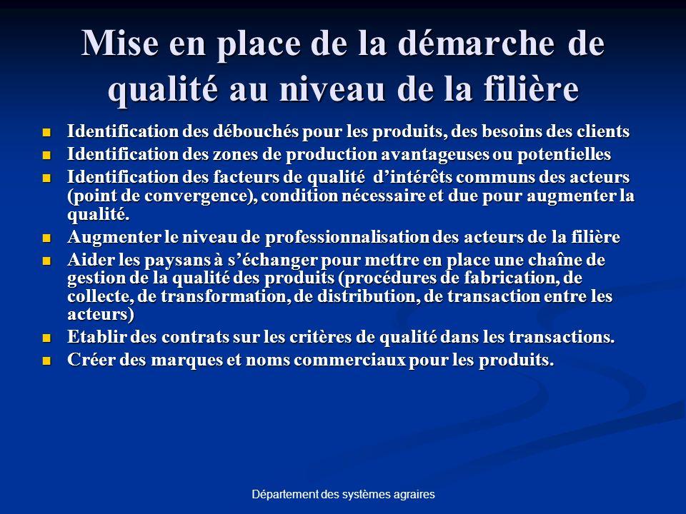 Département des systèmes agraires Mise en place de la démarche de qualité au niveau de la filière Identification des débouchés pour les produits, des