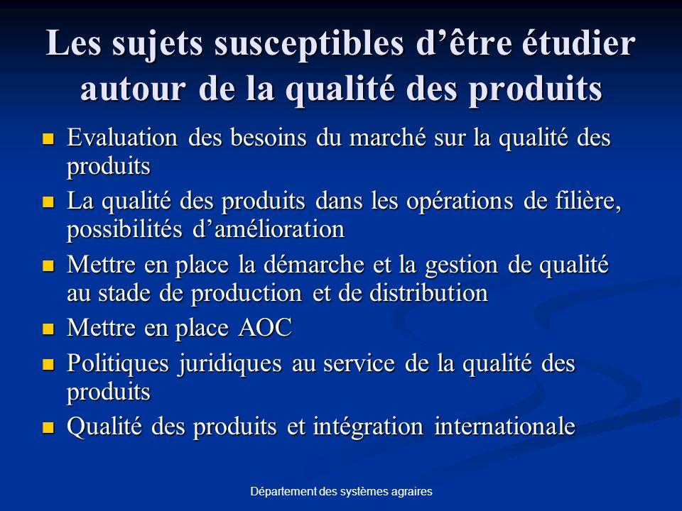 Département des systèmes agraires Les sujets susceptibles dêtre étudier autour de la qualité des produits Evaluation des besoins du marché sur la qual