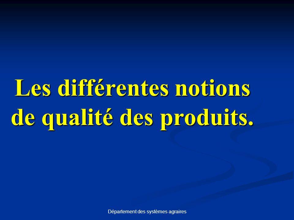 Département des systèmes agraires Les différentes notions de qualité des produits.