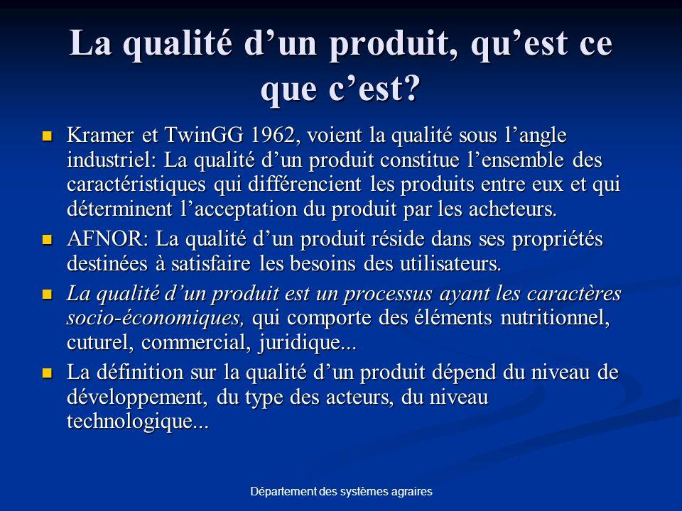 Département des systèmes agraires La qualité dun produit, quest ce que cest.