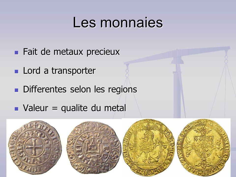 Les monnaies Fait de metaux precieux Fait de metaux precieux Lord a transporter Lord a transporter Differentes selon les regions Differentes selon les