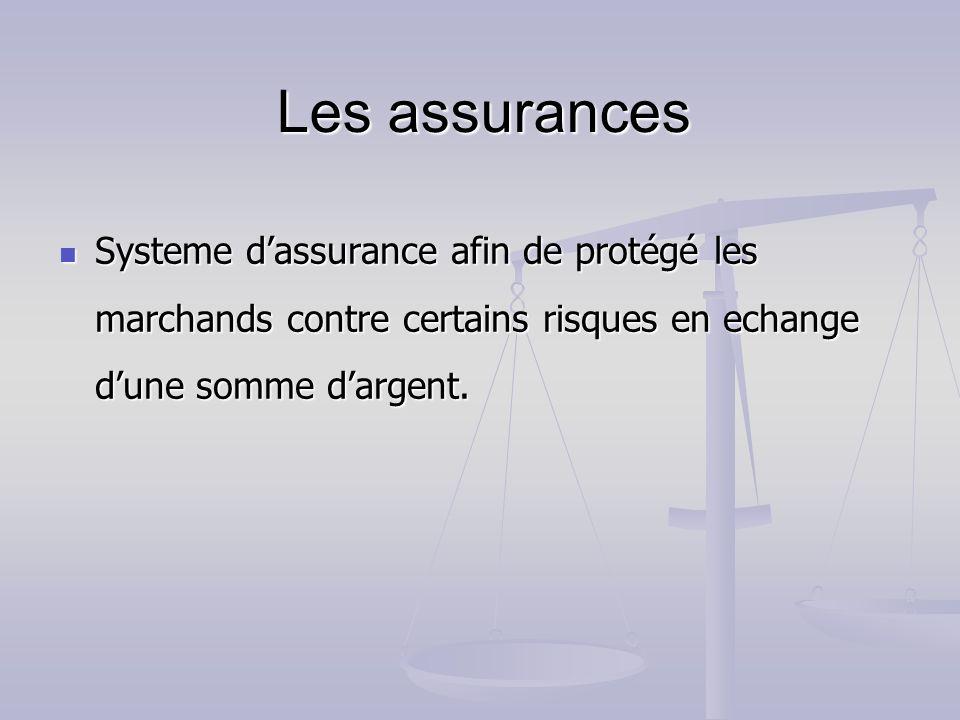 Systeme dassurance afin de protégé les marchands contre certains risques en echange dune somme dargent. Systeme dassurance afin de protégé les marchan