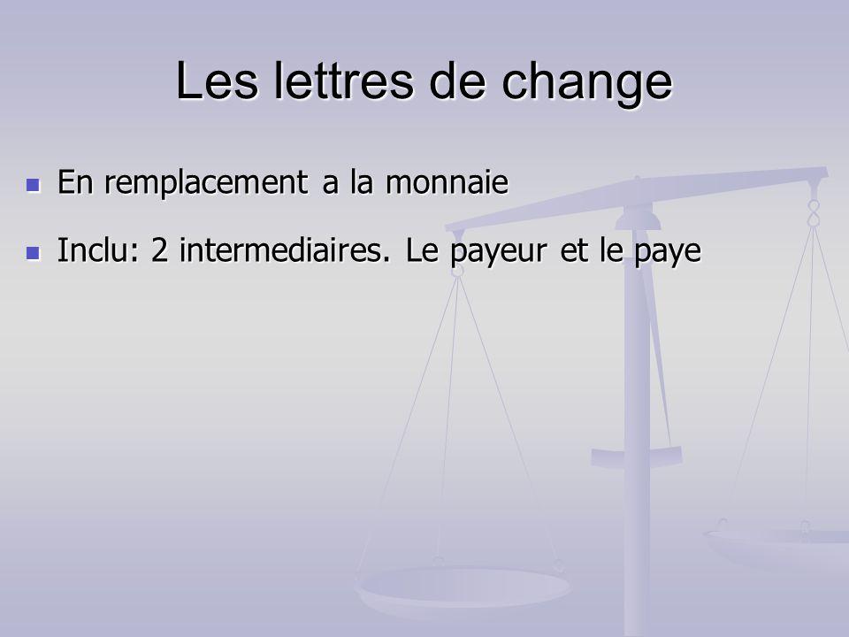 Les lettres de change En remplacement a la monnaie En remplacement a la monnaie Inclu: 2 intermediaires. Le payeur et le paye Inclu: 2 intermediaires.