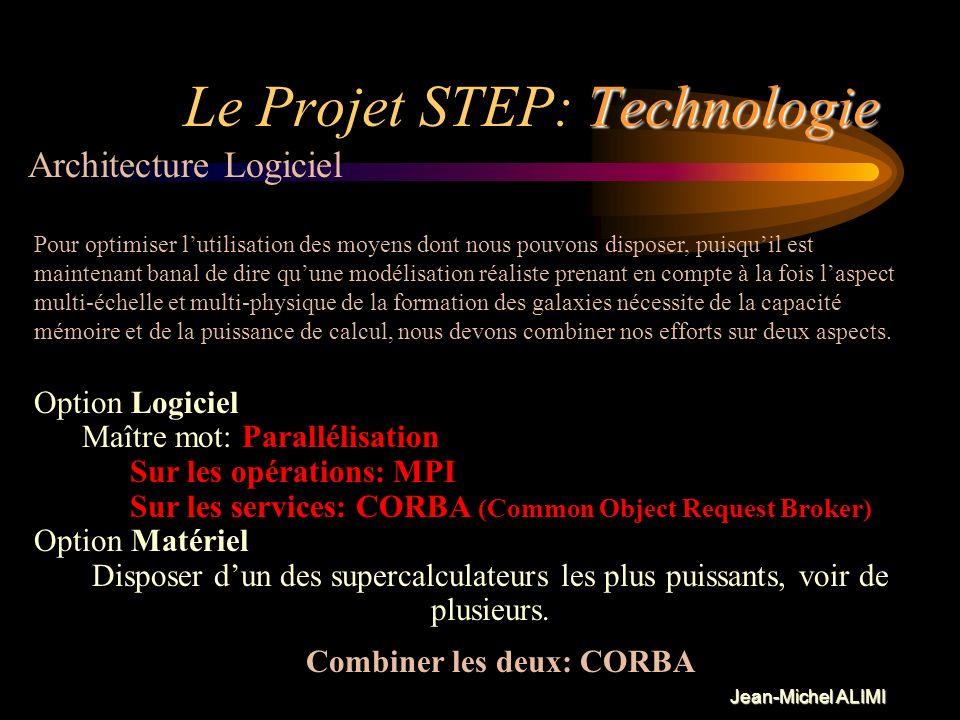 Jean-Michel ALIMI Technologie Le Projet STEP: Technologie Logiciel Notre effort de développement algorithmique est fait spécialement sur les codes par
