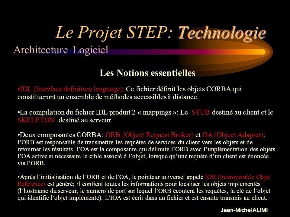Jean-Michel ALIMI Technologie Le Projet STEP: Technologie Quelques mots sur CORBA CORBA est une architecture logiciel de programmation Objet de type C