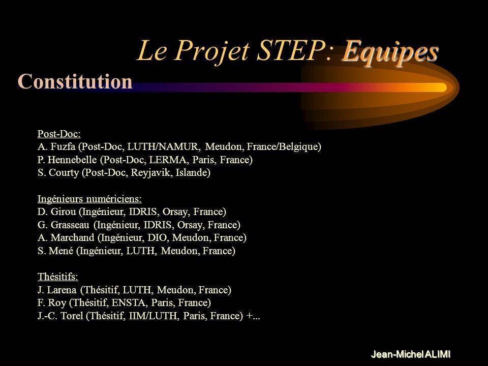 Jean-Michel ALIMI Equipes Le Projet STEP: Equipes Constitution Acteurs principaux: 11 Chercheurs + 3 Post-Docs + 4 Ingénieurs + 3 thésitifs 7 Institut