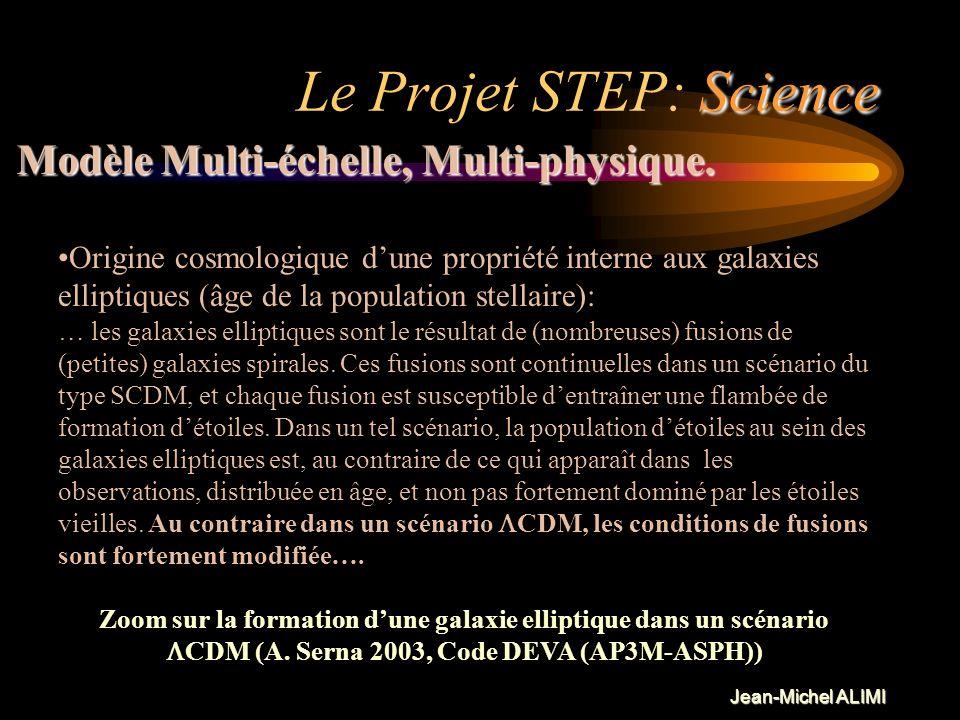 Jean-Michel ALIMI Science Le Projet STEP: Science Réaliste: Modélisation physique (« complète et rigoureuse »), qui consiste à réduire au minimum le n