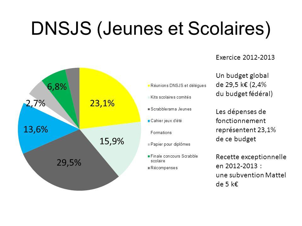 DNSJS (Jeunes et Scolaires) 23,1% 13,6% 29,5% 15,9% 6,8% 2,7% Exercice 2012-2013 Un budget global de 29,5 k (2,4% du budget fédéral) Les dépenses de f