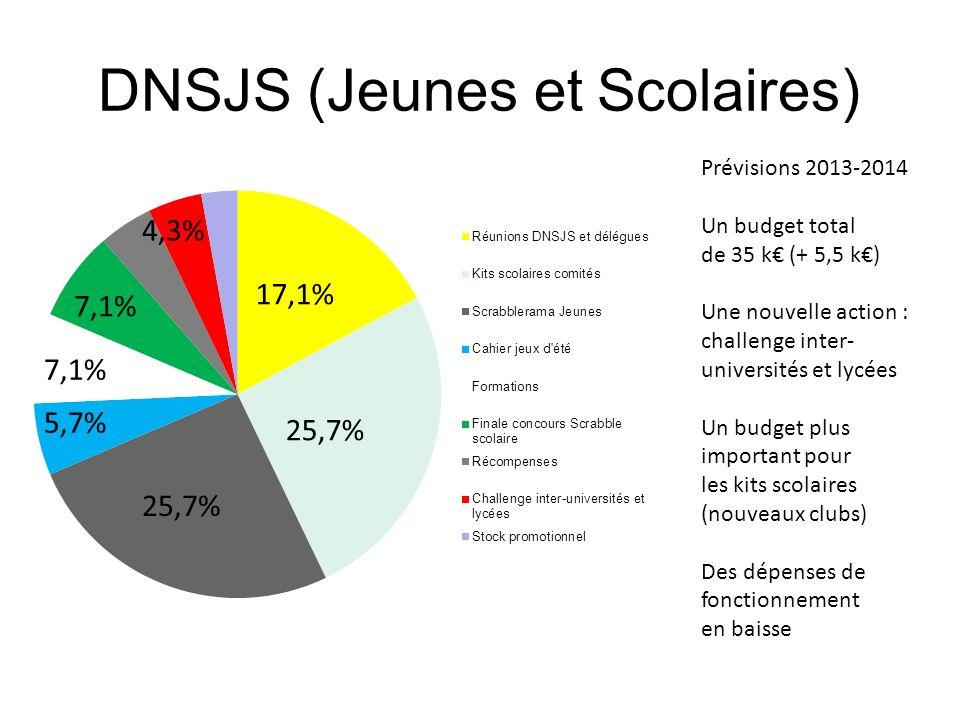 DNSJS (Jeunes et Scolaires) Prévisions 2013-2014 Un budget total de 35 k (+ 5,5 k) Une nouvelle action : challenge inter- universités et lycées Un bud