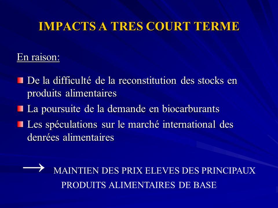 IMPACTS A TRES COURT TERME En raison: De la difficulté de la reconstitution des stocks en produits alimentaires La poursuite de la demande en biocarbu