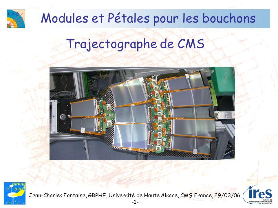 Jean-Charles Fontaine, GRPHE, Université de Haute Alsace, CMS France, 29/03/06 -1- Modules et Pétales pour les bouchons Trajectographe de CMS