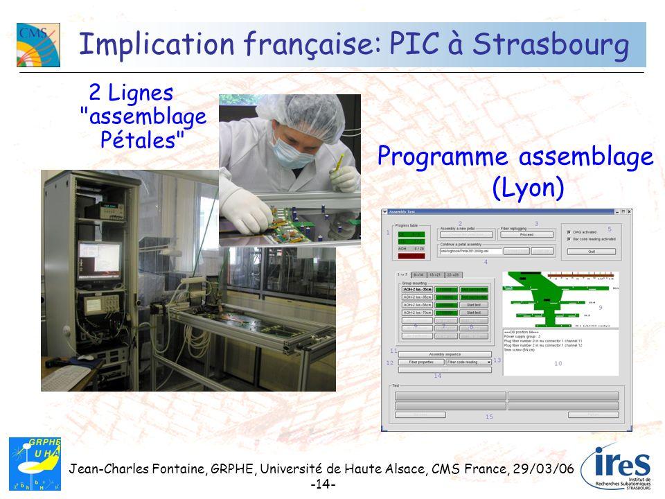 Jean-Charles Fontaine, GRPHE, Université de Haute Alsace, CMS France, 29/03/06 -14- Implication française: PIC à Strasbourg 2 Lignes