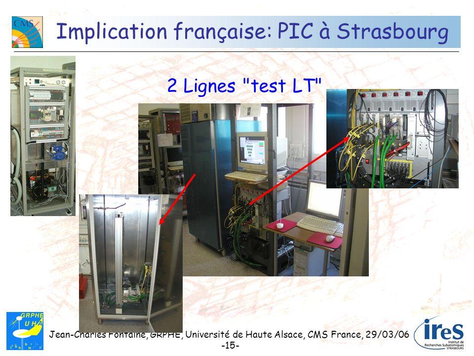 Jean-Charles Fontaine, GRPHE, Université de Haute Alsace, CMS France, 29/03/06 -15- Implication française: PIC à Strasbourg 2 Lignes