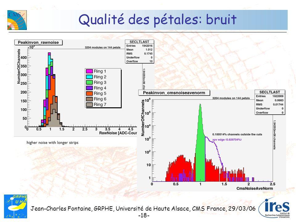 Jean-Charles Fontaine, GRPHE, Université de Haute Alsace, CMS France, 29/03/06 -18- Qualité des pétales: bruit