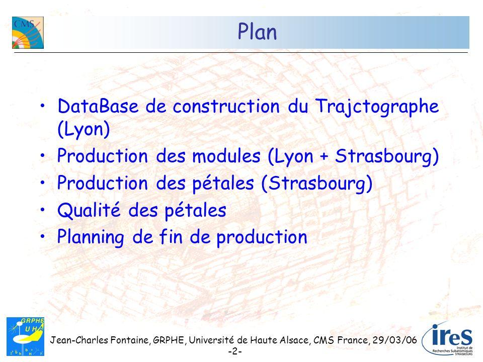 Jean-Charles Fontaine, GRPHE, Université de Haute Alsace, CMS France, 29/03/06 -2- Plan DataBase de construction du Trajctographe (Lyon) Production de