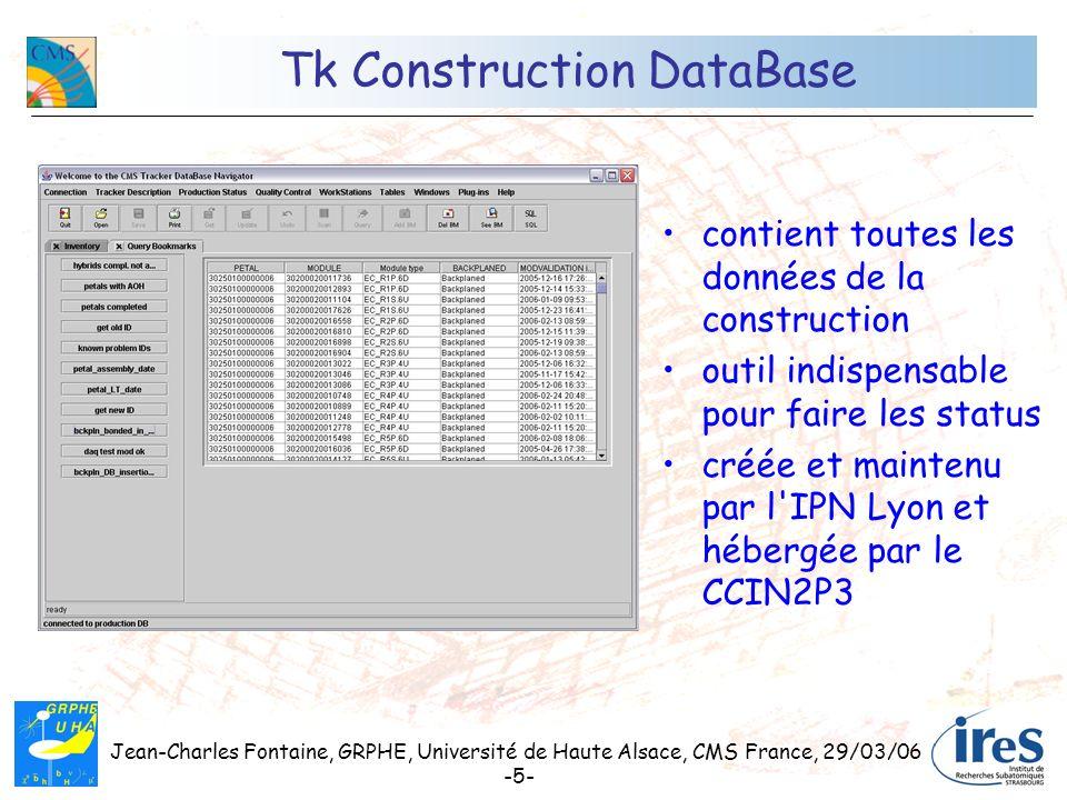 Jean-Charles Fontaine, GRPHE, Université de Haute Alsace, CMS France, 29/03/06 -5- Tk Construction DataBase contient toutes les données de la construc
