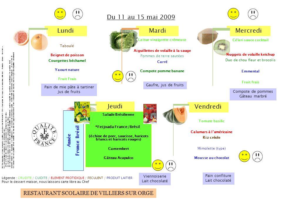 LundiMardiMercredi Jeudi Vendredi RESTAURANT SCOLAIRE DE VILLIERS SUR ORGE Tomate basilic Calamars à laméricaine Riz créole Mimolette (type) Mousse au chocolat Céleri sauce cocktail Nuggets de volaille ketchup Duo de chou fleur et brocolis Emmental Fruit frais Salade Brésilienne (échine de porc, saucisse, haricots blancs et haricots rouges) Camembert Gâteau Acapulco Taboulé Beignet de poisson Courgettes béchamel Yaourt nature Fruit Frais Du 11 au 15 mai 2009 Légende : CRUDITE / CUIDITE / ELEMENT PROTIDIQUE / FECULENT / PRODUIT LAITIER Pour le dessert maison, nous laissons carte libre au Chef RGC Restauration est une entreprise certifiée sur la base du Référentiel S-320 « Conception des repas en restauration collective – Produits – Menus - Recettes ».