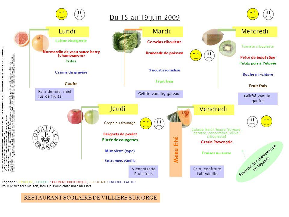 LundiMardiMercredi Jeudi Vendredi RESTAURANT SCOLAIRE DE VILLIERS SUR ORGE Salade fraichheure (tomate, carotte, concombre, olive, ciboulette) Gratin P