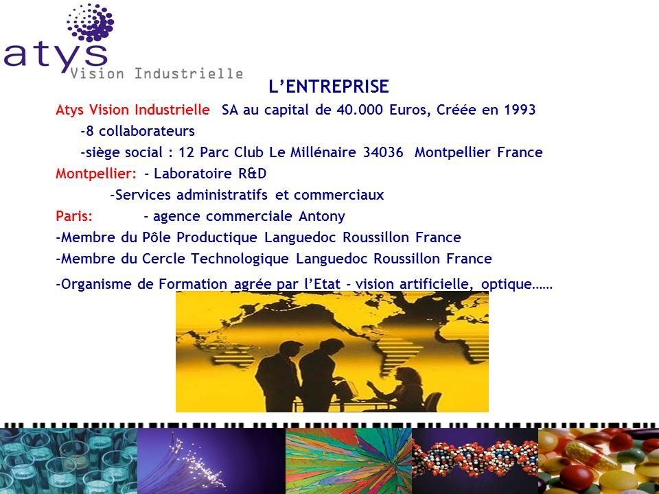 LENTREPRISE Atys Vision Industrielle SA au capital de 40.000 Euros, Créée en 1993 -8 collaborateurs -siège social : 12 Parc Club Le Millénaire 34036 M