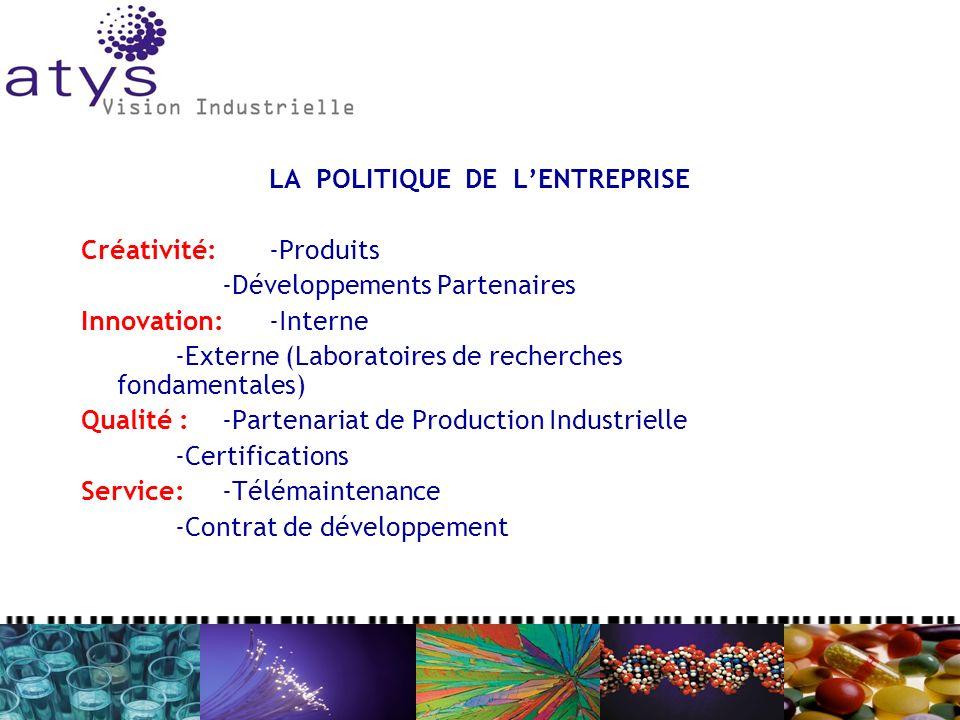 Créativité: -Produits -Développements Partenaires Innovation:-Interne -Externe (Laboratoires de recherches fondamentales) Qualité :-Partenariat de Production Industrielle -Certifications Service:-Télémaintenance -Contrat de développement