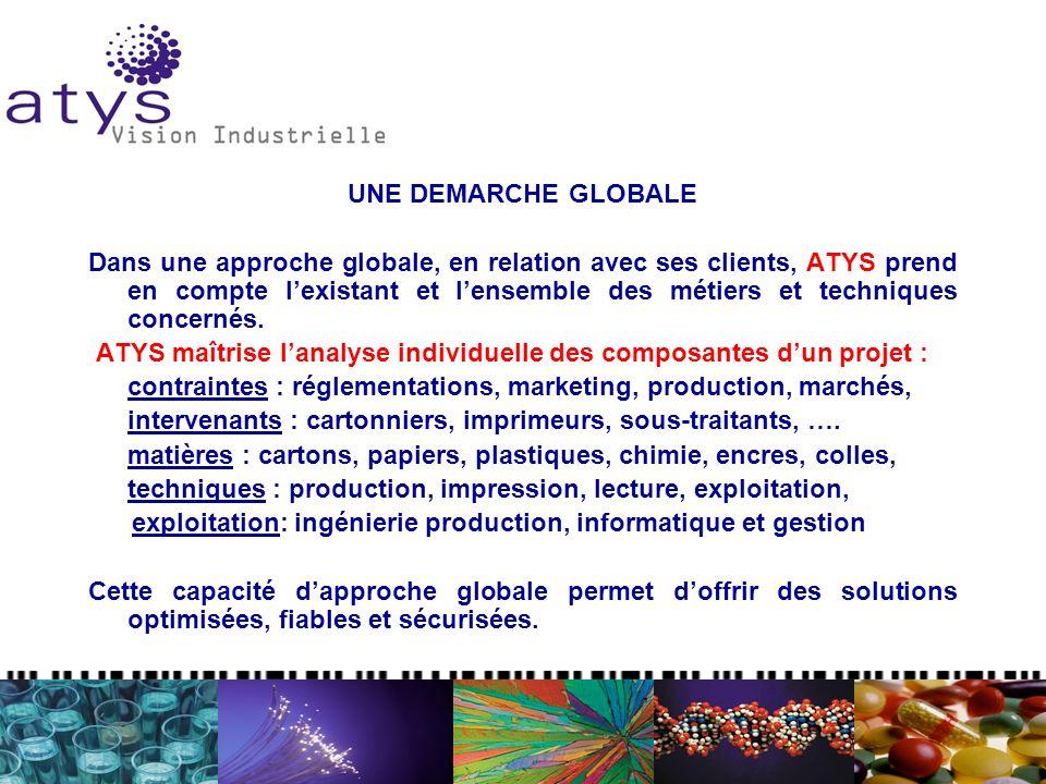 UNE DEMARCHE GLOBALE Dans une approche globale, en relation avec ses clients, ATYS prend en compte lexistant et lensemble des métiers et techniques co