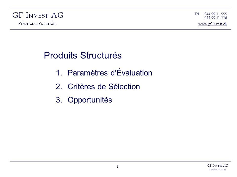 GF I NVEST AG F INANCIAL S OLUTIONS 2 Produits Structurés Paramètres dÉvaluation Paramètres Principaux Taux Volatilité Corrélations Prix à terme Maturité Liquidité