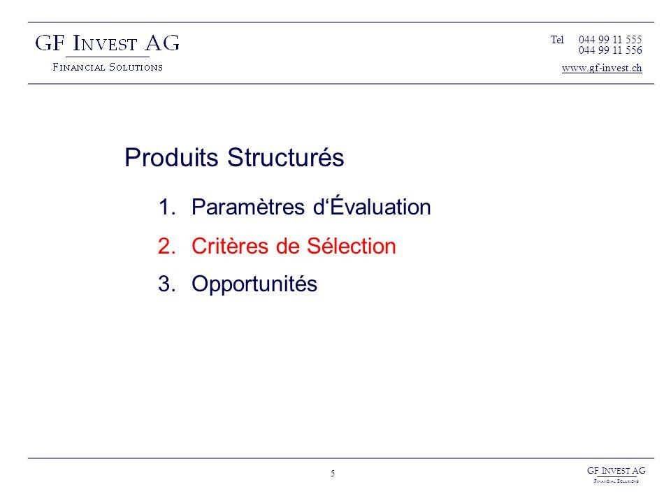 GF I NVEST AG F INANCIAL S OLUTIONS 5 Produits Structurés 1.Paramètres dÉvaluation 2.Critères de Sélection 3.Opportunités Tel044 99 11 555 044 99 11 5