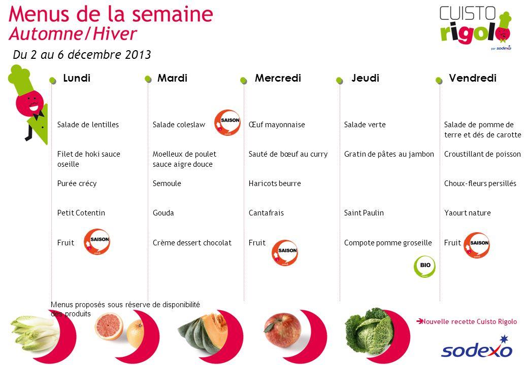 LundiMardiMercrediJeudiVendredi Menus proposés sous réserve de disponibilité des produits Salade de lentilles Filet de hoki sauce oseille Purée crécy