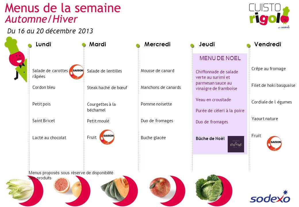 LundiMardiMercrediJeudiVendredi Menus proposés sous réserve de disponibilité des produits Salade de carottes râpées Cordon bleu Petit pois Saint Brice