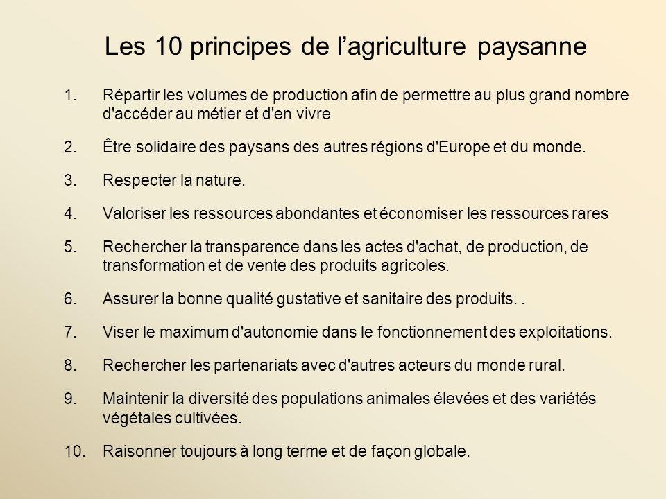Les 10 principes de lagriculture paysanne 1.Répartir les volumes de production afin de permettre au plus grand nombre d accéder au métier et d en vivre 2.Être solidaire des paysans des autres régions d Europe et du monde.
