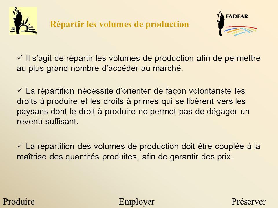 ProduireEmployerPréserver Il sagit de répartir les volumes de production afin de permettre au plus grand nombre daccéder au marché.