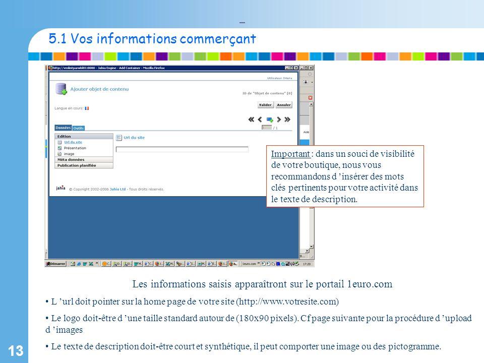 13 Les informations saisis apparaîtront sur le portail 1euro.com L url doit pointer sur la home page de votre site (http://www.votresite.com) Le logo doit-être d une taille standard autour de (180x90 pixels).