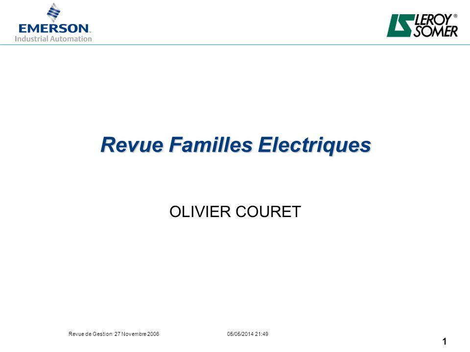 Revue de Gestion 27 Novembre 2006 05/05/2014 21:49 1 Revue Familles Electriques OLIVIER COURET