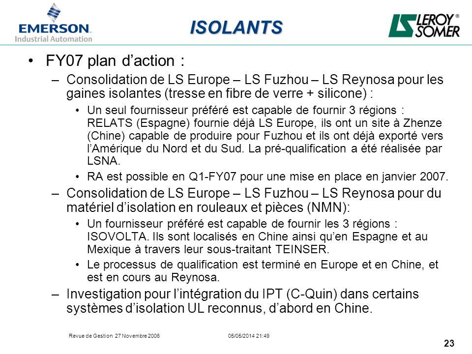 Revue de Gestion 27 Novembre 2006 05/05/2014 21:49 23 ISOLANTS FY07 plan daction : –Consolidation de LS Europe – LS Fuzhou – LS Reynosa pour les gaine