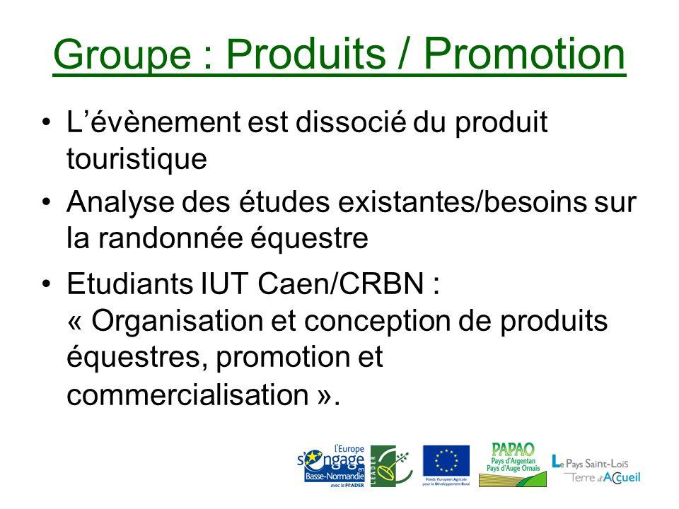 Groupe : P roduits / Promotion Lévènement est dissocié du produit touristique Analyse des études existantes/besoins sur la randonnée équestre Etudiants IUT Caen/CRBN : « Organisation et conception de produits équestres, promotion et commercialisation ».