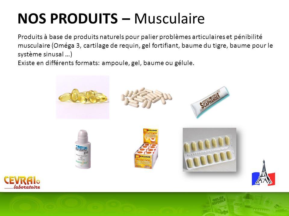 NOS PRODUITS – Musculaire Produits à base de produits naturels pour palier problèmes articulaires et pénibilité musculaire (Oméga 3, cartilage de requ