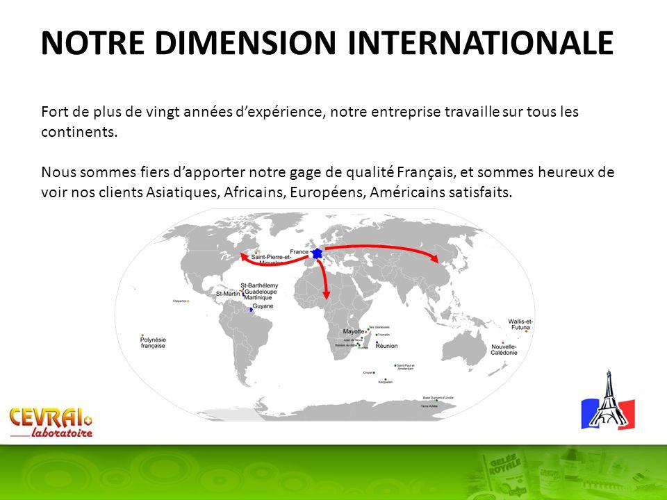 NOTRE DIMENSION INTERNATIONALE Fort de plus de vingt années dexpérience, notre entreprise travaille sur tous les continents. Nous sommes fiers dapport