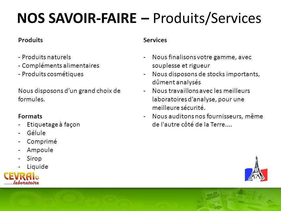 NOS SAVOIR-FAIRE – Produits/Services Produits - Produits naturels - Compléments alimentaires - Produits cosmétiques Nous disposons dun grand choix de