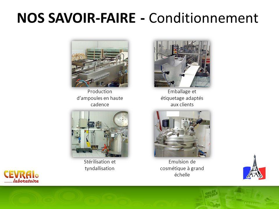 NOS SAVOIR-FAIRE - Conditionnement Production dampoules en haute cadence Stérilisation et tyndallisation Emulsion de cosmétique à grand échelle Emball
