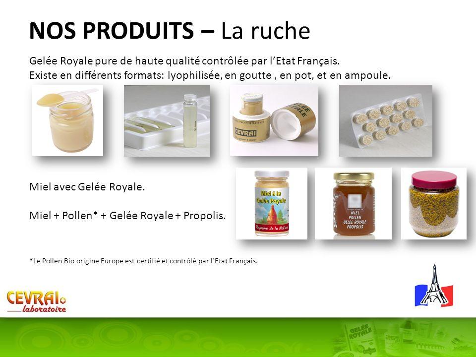 NOS PRODUITS – La ruche Gelée Royale pure de haute qualité contrôlée par lEtat Français. Existe en différents formats: lyophilisée, en goutte, en pot,