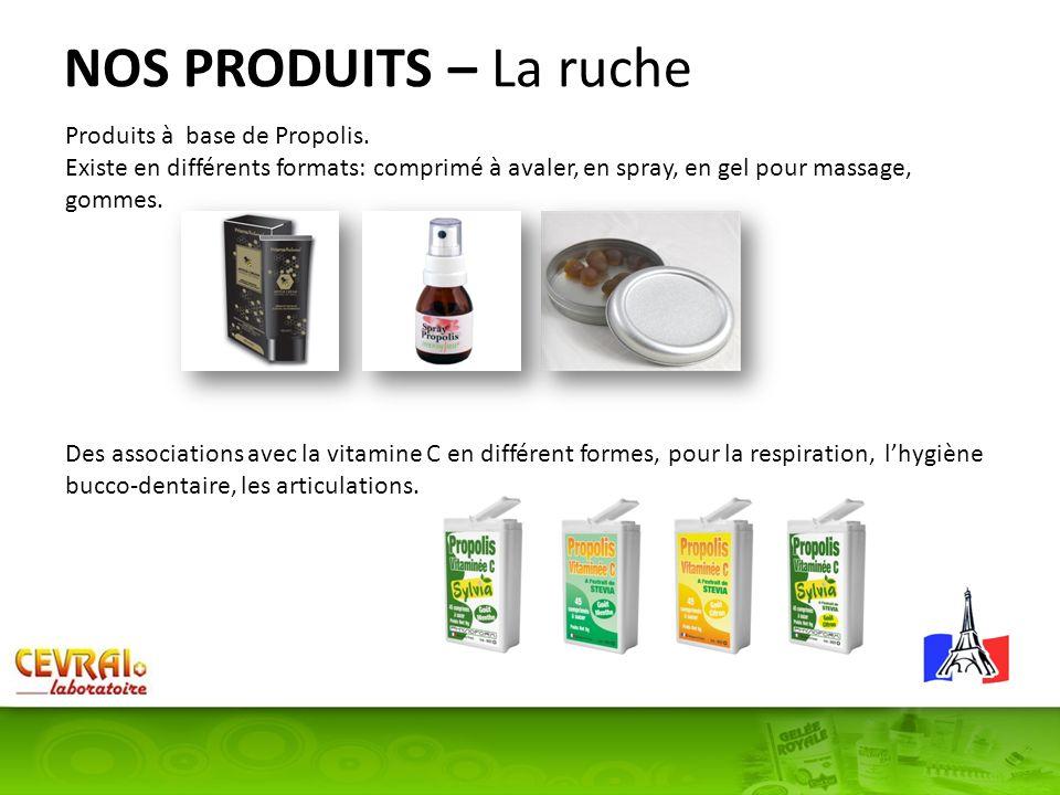 NOS PRODUITS – La ruche Produits à base de Propolis. Existe en différents formats: comprimé à avaler, en spray, en gel pour massage, gommes. Des assoc