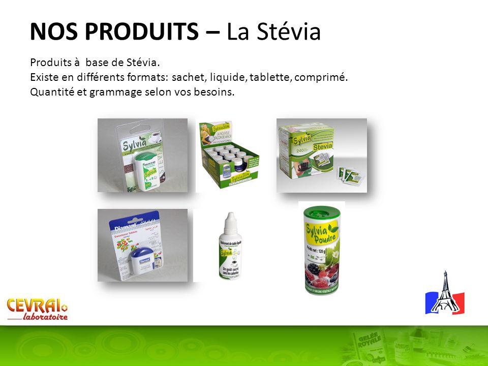 NOS PRODUITS – La Stévia Produits à base de Stévia. Existe en différents formats: sachet, liquide, tablette, comprimé. Quantité et grammage selon vos