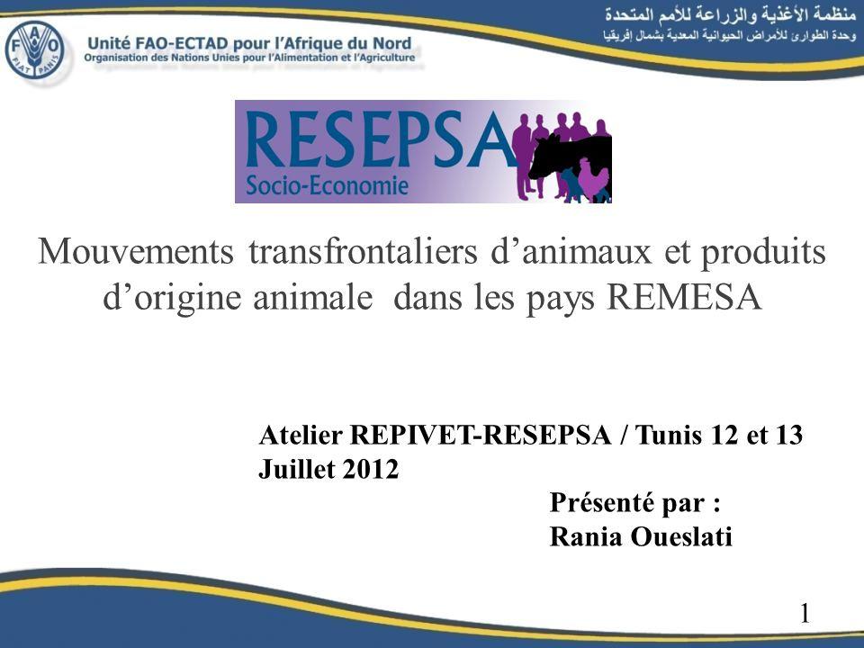 Mouvements transfrontaliers danimaux et produits dorigine animale dans les pays REMESA Atelier REPIVET-RESEPSA / Tunis 12 et 13 Juillet 2012 Présenté par : Rania Oueslati 1