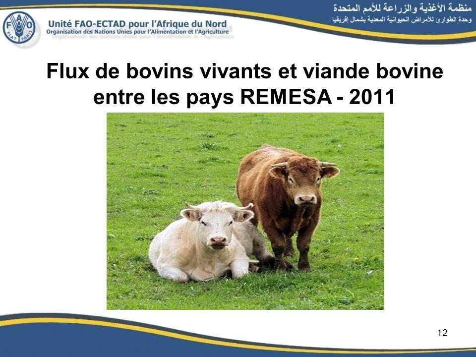 Flux de bovins vivants et viande bovine entre les pays REMESA - 2011 12