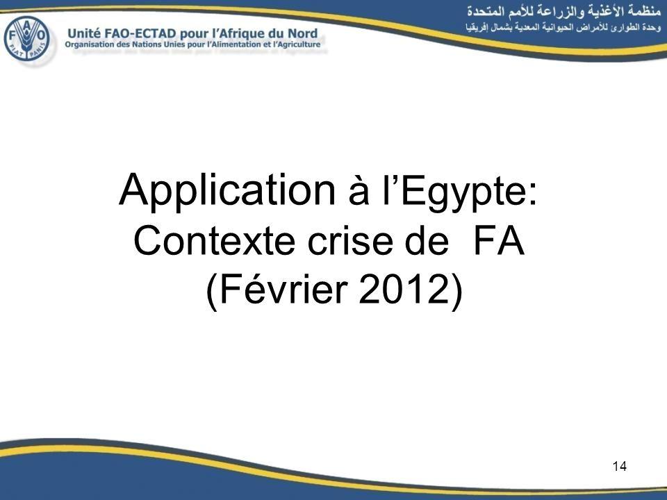 Application à lEgypte: Contexte crise de FA (Février 2012) 14