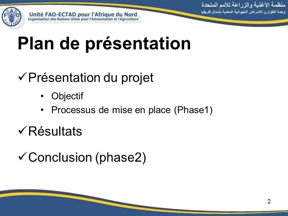 Plan de présentation Présentation du projet Objectif Processus de mise en place (Phase1) Résultats Conclusion (phase2) 2