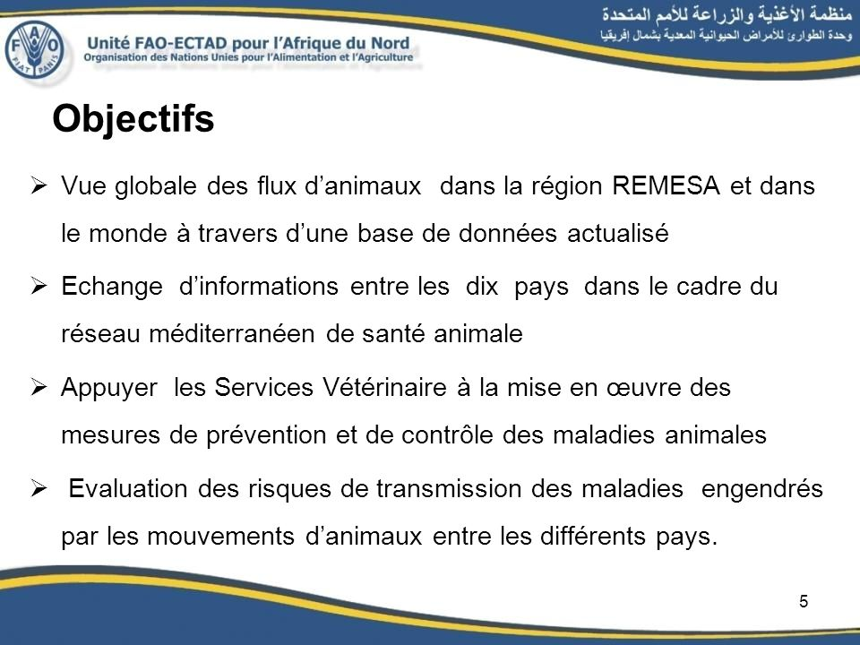 Objectifs Vue globale des flux danimaux dans la région REMESA et dans le monde à travers dune base de données actualisé Echange dinformations entre le
