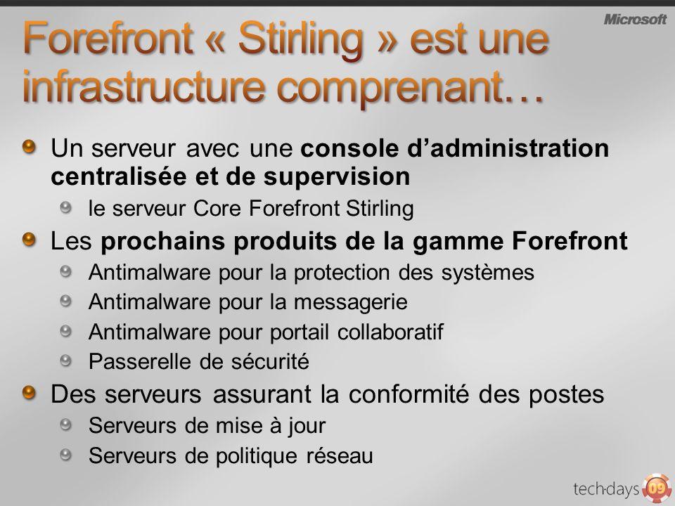 Un serveur avec une console dadministration centralisée et de supervision le serveur Core Forefront Stirling Les prochains produits de la gamme Forefr